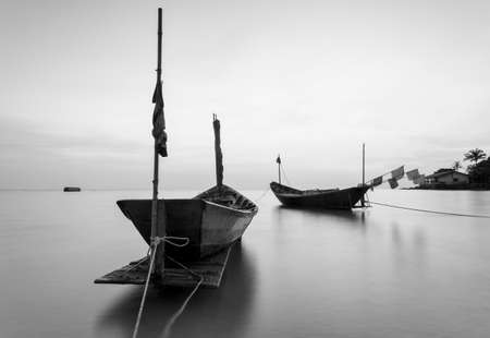 The fishing boat in black and white at Kon Ao Beach, Rayong, Thailand Stock Photo