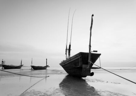 murk: The fishing boat in black and white at Kon Ao Beach, Rayong, Thailand Stock Photo