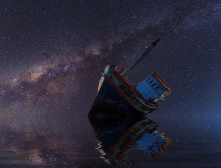 wrecked: The wrecked ship under starry night with clearly  milky way