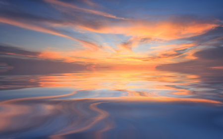 sunrise: Natural background panorama of the gold color sky and beautiful water reflection , During the time sunrise and sunset