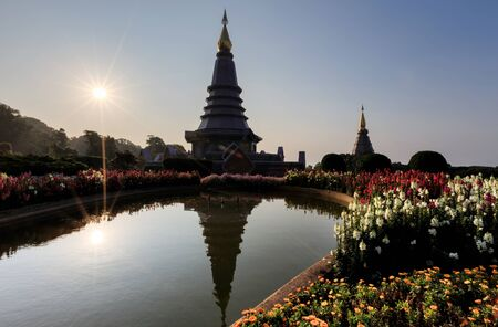 phon: Landscape of two pagoda on the top of Inthanon mountain, Chiang Mai, Thailand
