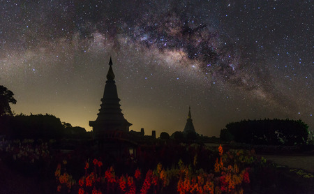 clearly: The clearly milky way over the temple, Thailand