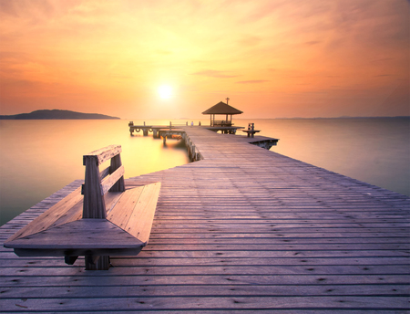 GLOD: The long bridge over the sea with a beautiful sunrise, Rayong, Thailand