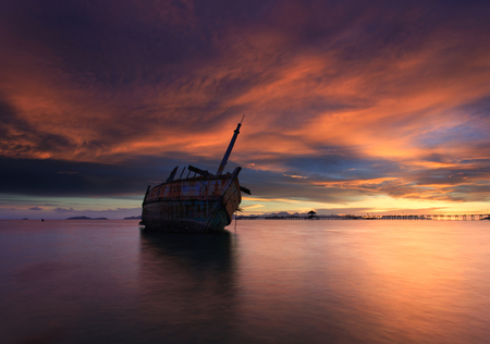 decaying: The decaying boat , Thailand Stock Photo