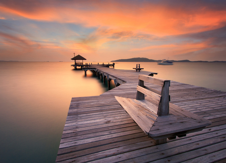 The bridge over the sea with a beautiful sunrise, Rayong, Thailand