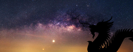 Panorama of milky way and silhouette Dragon Stock Photo