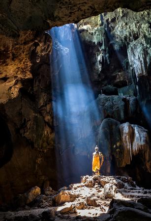 ratchaburi: Amazing Buddhism with the ray of light in the cave, Ratchaburi Province, Thailand