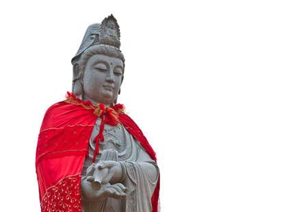 Gros plan Kuan Yin la statue taill�e dans la pierre de l'art de la Chine Banque d'images - 12324768