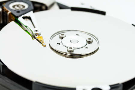 close up of hard disk with abstract reflection photo