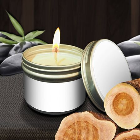 Scented candles in the bark of a flammable can and placed in the center of the image with an empty product label. With a beautiful backdrop to relax