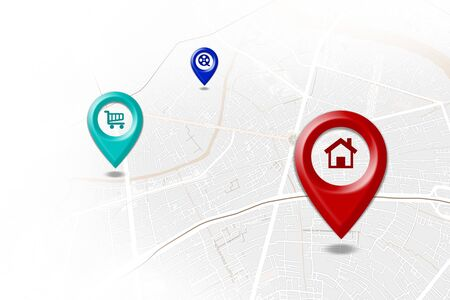 GPS.navigator Red, blue and green pins simulate the map on a white background.
