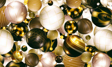 3d spherical illustration and pattern of celebration, abstract background illustration with 3 dimensional geometry, fun design Advertising banner template Dynamic wallpaper with balls or particles. High resolution 3D drawing For print and website designs