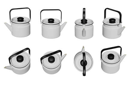Teapot 3D illustrations isolated on white background.with Clipping Path ready to use for decoration.