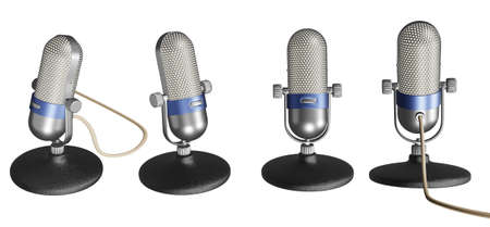 Old microphone 3D illustrations isolated on white background. ready to use for decoration. Stock Photo