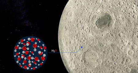 3D Illustration SOFIA found water on the surface of the moon, surface rash of the moon contains large amounts of water or H2o compounds.