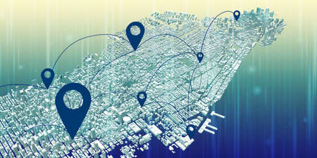 Map pin above city view And the concept of network connection GPS system 5G and 6G communication system data communication via Applications Smart phone 3D illustration