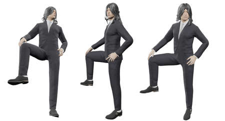 3d illustration Asian men with long black hair photo set Wear best gray tie suit Show a standing posture and raise one leg. A confident expression With cutting path