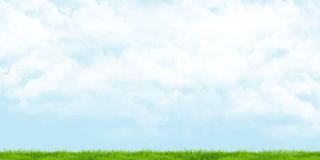 Green meadow Cloudy skies Panoramic view, 3d illustration Stock fotó