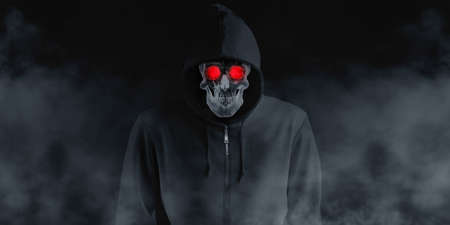 A devil skull in a black robe with a hood and a smoke skull smiling under a black shirt. The spirit in the coat Black background with smog 3d illustration
