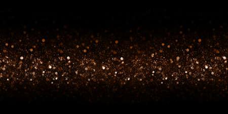 Golden bokeh glitter bokeh effect black background 3d illustration
