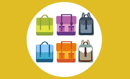 Set of six flat colorfull school backpacks at orange background. Vector illustration