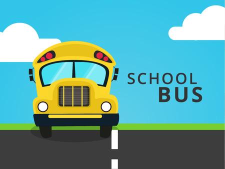 Flat school bus at road. Full face vector illustration