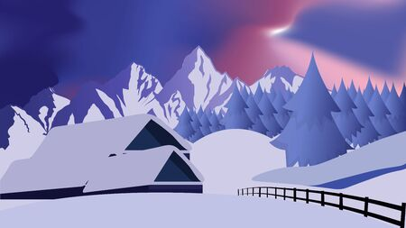 Cozy decorated house or cottage with pine forest and mountains. Village or town.