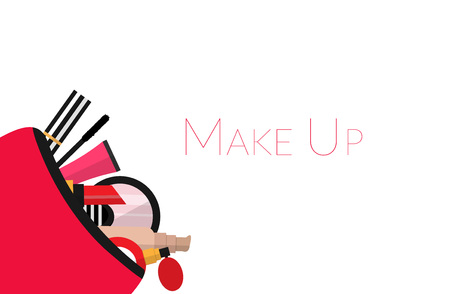 Make up concept vector flat illustration. Include cosmetic bag with lipstick, comb, brush, palette, perfume, nail polish.