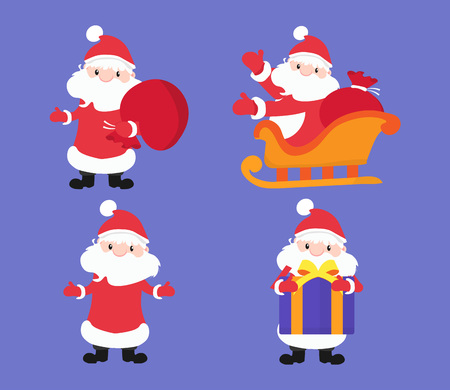 A collection of Christmas and New Year characters. Include variables Santa Claus. Vector illustration