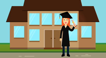 A nice graduate girl in academic clothes: a hat with a tassel and a mantle, holds a roll with a diploma in her hands. Academic regalia. Ceremonial clothes illustration.