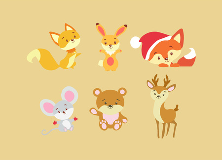 Set of animals in flat style. Cute animals on a beige background. A collection of small baby animals. Illustration