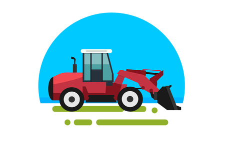 Big red loader in a flat style isolated. Heavy agricultural machinery for conducting construction works. Loader icon.