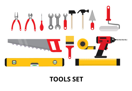 Set isolated icons set building tools repair. Include drill hammer screwdriver saw file putty knife ruler roller brush. Kit flat style. Vector illustration Vettoriali