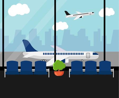 Sala de espera do aeroporto ou sala de estar da partida com cadeiras e planta. Opinião terminal do aeródromo do salão em aviões. Banner horizontal de aeroporto. Conceito de viagens de negócios. Ilustração em vetor estilo simples.