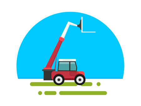 Heavy red loader in a flat style isolated. Heavy agricultural machinery for conducting construction works. Loader icon. Element for site, infographics, websites.  Vector illustration. 일러스트