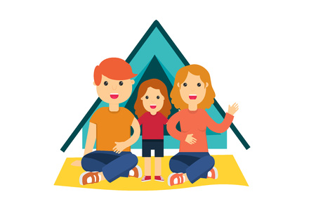 Flat colorful vector illustration of father, mother with kid sitting on touristic carpet near tent. Family camping concept design element.