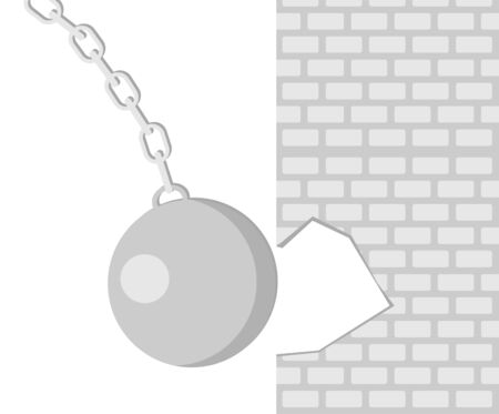 The wrecking ball breaks the wall. Building concept. Broken construction. The wrecking ball icon. Shades of gray. Vector flat illustration.