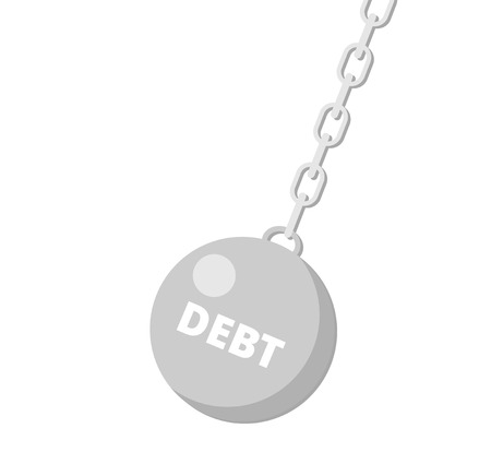 The wrecking ball with phrase Debt. Debt concept. The wrecking ball icon. Shades of gray. Flat vector illustration. Illustration