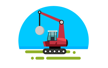 Flat red crane with wrecking ball in a flat style isolated. Heavy machinery for conducting construction works. Wrecking ball icon. Element for site, infographics, websites. Vector illustration. Illustration