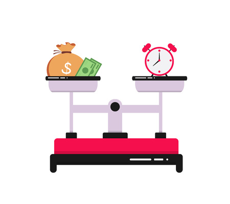 Time is money concept, illustration of clock and money symbols on scale.