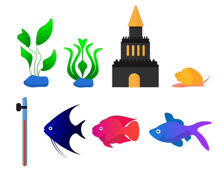 A set of eight elements for the aquarium includes plants, a snail, a thermometer and three fish, for kids books and encyclopedias.