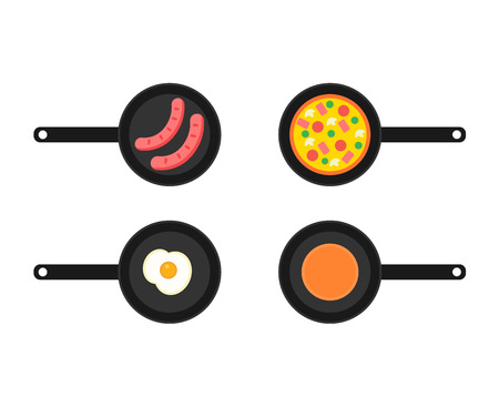 Frying pans with four kinds of breakfast. Fried sausages. Omelette (scrambled eggs) Pizza. Pancake. The concept of breakfast. Element for web, culinary infographic, brochure, restaurant presentation.