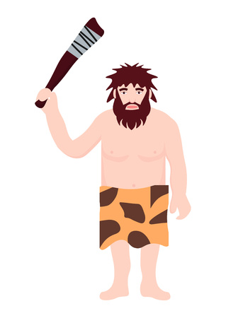 Stone age primitive man wear in animal skin holding a truncheon (wooden club). Adult character ancient human cartoon caveman template for presentation, banners, books flat vector illustration.