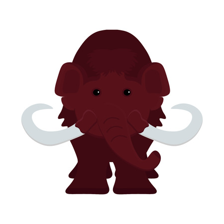 Cute little brown mammoth, ice age and stone age animal. The extinct species of mammals heavy cartoon mammoth template for web, banners, museum exhibit vector flat illustration. Illustration