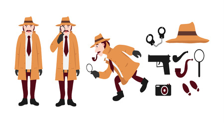 Big set of detective tools and detective characters. Includes a hat, a gun, handcuffs, a tube, a magnifying glass, traces, a camera isolated on white background flat vector illustration. Vectores