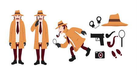 Grand ensemble d'outils de détective et de personnages de détective. Comprend un chapeau, une arme à feu, des menottes, un tube, une loupe, des traces, une caméra isolée sur illustration vectorielle fond blanc. Vecteurs