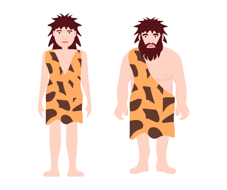 Stone age primitive man and woman wear in animal skin standing. Adult character, ancient human cartoon caveman template for presentation, banners, books flat vector illustration. Vettoriali