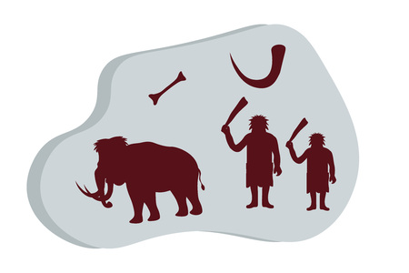Ancient stone with rock paintings. Cave people hunt for mammoths, life of cavemen. Stone age, ice age template for presentation, banners, books flat vector illustration. Illustration