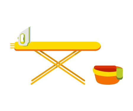 Ironing board with iron basin with things next to the board. Bowl with wash clothes flat iron board. Modern iron flat vector illustration isolated on white background.