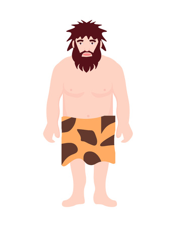 Stone age primitive man wear in animal skin standing. Adult character ancient human cartoon caveman. Template for presentation, banners, books flat vector illustration.